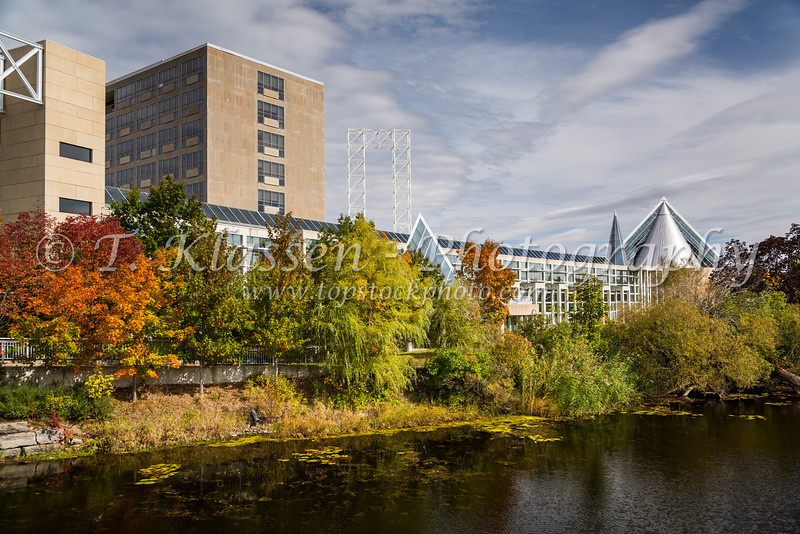 Architecture of the John G. Diefenbaker Building with fall color reflections in Ottawa, Ontario, Canada.