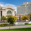 The National Arts Center and the Rideau Canal in Ottawa, Ontario, Canada.
