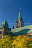 The clock tower of the Canadian parliament buildings on Parliament Hill in Ottawa, Ontario, Canada.