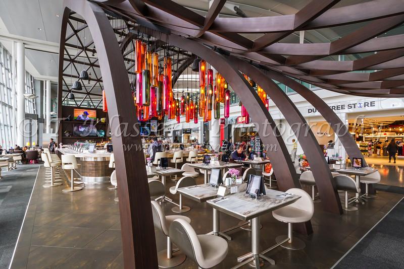 A passenger restaurant in the  Pearson International Airport, Toronto, Ontario, Canada.