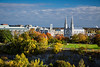 The city skyline and the Notre Dame Cathedral with autumn color in Ottawa, Ontario, Canada.