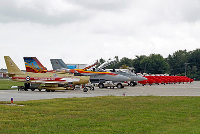 Canadian Forces jets lined up at Windsor Airport - a Sabre jet, two CF-18's and 10 Tutor jets used by the Snowbirds.