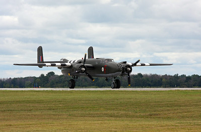 On takeoff, a  B-25 Mitchell bomber
