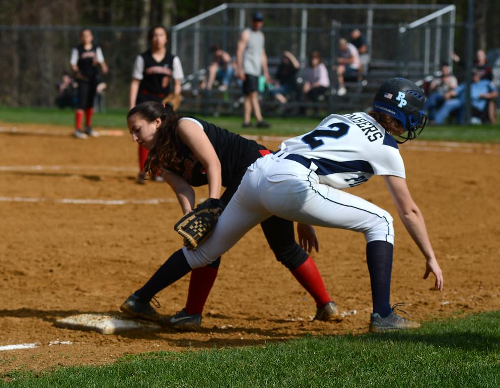 . Tania Barricklo- Daily Freeman  Oine Plains Halay Strong safe on third. Third baseman Darrah Allison
