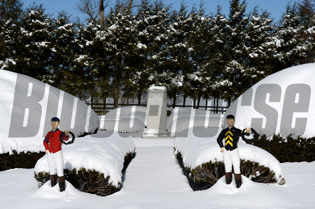 Jockeys in Calumet and Brad Kelley silks at entrance to cemetery.<br /> Stallions and cemetery scenes at Calumet Farm on March 6, 2015, in Lexington, Ky.<br /> StallionsCemetery 3_6_15 image450<br /> Photo by Anne M. Eberhardt