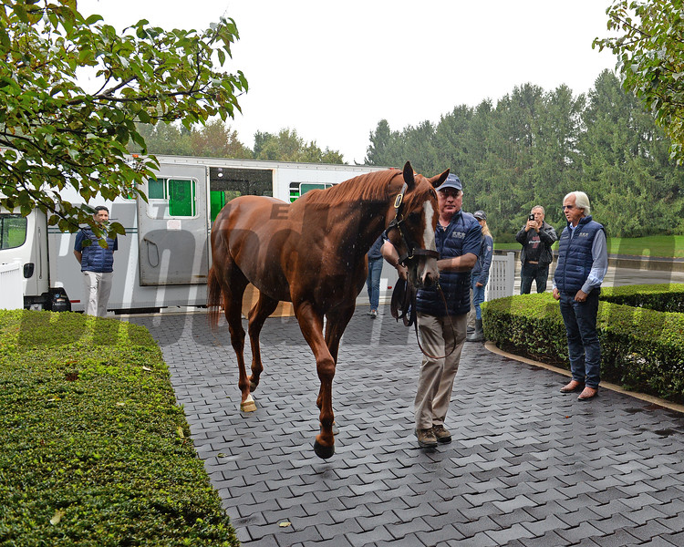 Justify arrives at Ashford Stud. Bob Baffert on right. <br /> Keeneland September Sales from Sept. 7 to Sept. 23, 2018. Sept. 17, 2018 Ashford in Versailles, Kentucky.