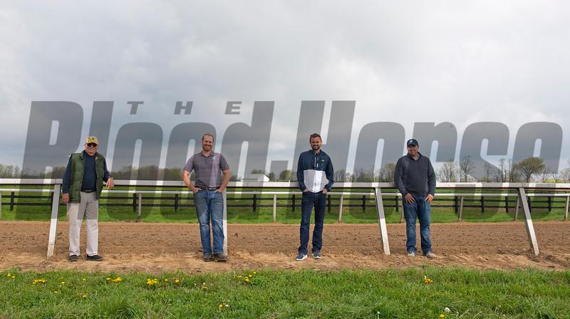 Caption:(L-R): Steve Johnson, Erik Johnson, Matt Bowling, Kevin Noltemeyer<br /> Training at Silver Springs Training, part of Silver Springs Stud, near Lexington, Ky.,  on April 8, 2020 Silver Springs in Lexington, KY.