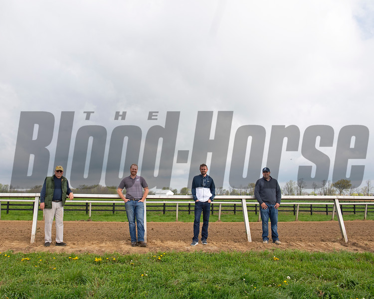Caption:(L-R): Steve Johnson, Erik Johnson, Matt Bowling, Kevin Noltemeyer<br /> Training at Silver Springs Training, part of Silver Springs Stud, near Lexington, Ky.,  on April 8, 2020 Silver Springs in Lexington, KY.