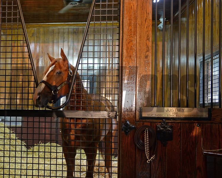 Justify arrives at Ashford Stud. in his new stall<br /> Keeneland September Sales from Sept. 7 to Sept. 23, 2018. Sept. 17, 2018 Ashford in Versailles, Kentucky.