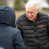 B. Wayne Huges, right, talks with a breeder. Omaha Beach parades for media, breeders and fans on<br /> Jan. 28, 2020 Spendthrift Farm in Lexington, KY.
