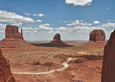 Scenes from Monument Valley, the Navajo Reservation.  East and West Mitten Buttes