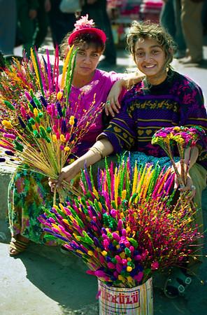 Girls selling flowers