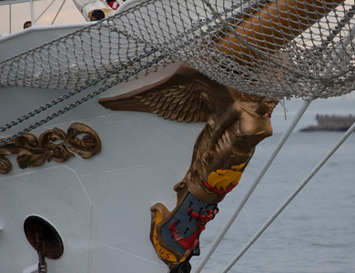 Angel Figurehead on Gloria.  Glittering in gold-leaf, the figurehead is called Maria Salud, reputedly after the sculptor's daughter.