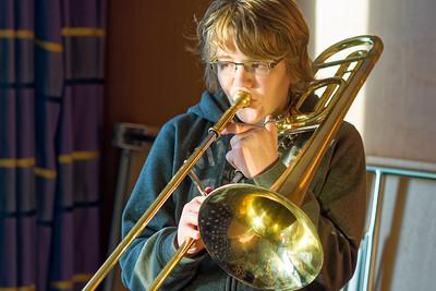 Richard hat seine Trombone dabei, um für ein Konzert zu üben. Das ist natürlich nicht so einfach auf dem Zimmer. Von der Rezeption bekamen wir den Schlüssel für einen Konferenzraum.