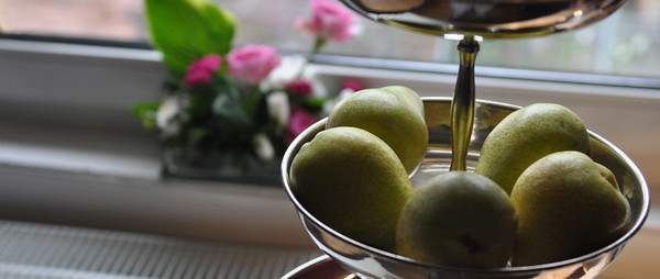Pears with flowers on sill<br /> <br /> 03-105