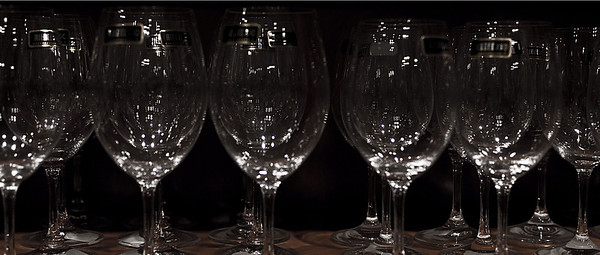 Wine glasses on a shelf<br /> <br /> 03-097