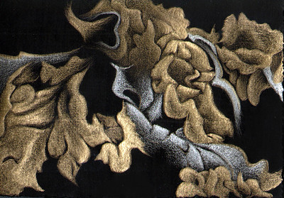 """Lichen Shimmer I"" (goldpoint-silverpoint on black ground) by Jeannine Cook"