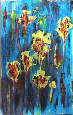 """Zombie Flowers"" (house paint on poster board) by John Craig"
