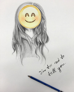 """I'm Too Sad To Tell You"" (colored pencil and graphite) by Madison Brown"