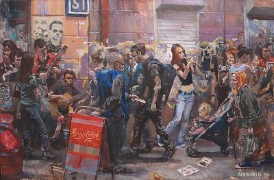 """Street"" (acrylic/canvas) by Vasiliy Anikin"