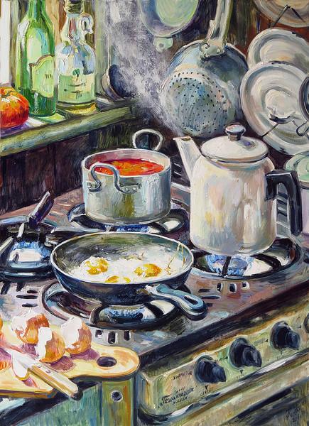 """Borsch for Lunch"" (oil on canvas) by Ksenia Filippova"