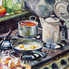 """Borsch for Lunch"" (oil on canvas) by Ksenia Filippova"