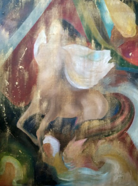 """""""Flying of the Centaur"""" (oil on canvas) by Angelina Damenia"""