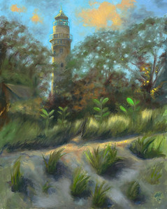 """View of Grosse Point Lighthouse from Wildflower Trail"" (oil on panel) by Abran Keranen"