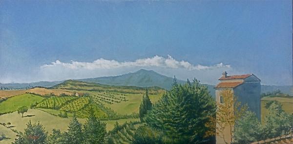 """Monte Amiata, The View From San Casciano dei Bagni"" (oil on wood panel) by Louis Degni"