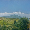 """Monte Amiata, The View From San Casciano dei Bagni"" (oil on wood panel) by Louis Degni"