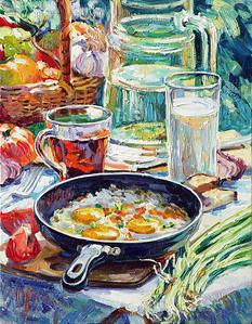 """""""Eggs for Breakfast"""" (oil on canvas) by Ksenia Filippova"""