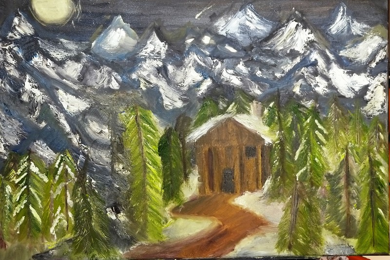 """""""Cabin Under the Mountains"""" (oil on canvas) by Rohit Burra"""
