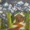 """Cabin Under the Mountains"" (oil on canvas) by Rohit Burra"