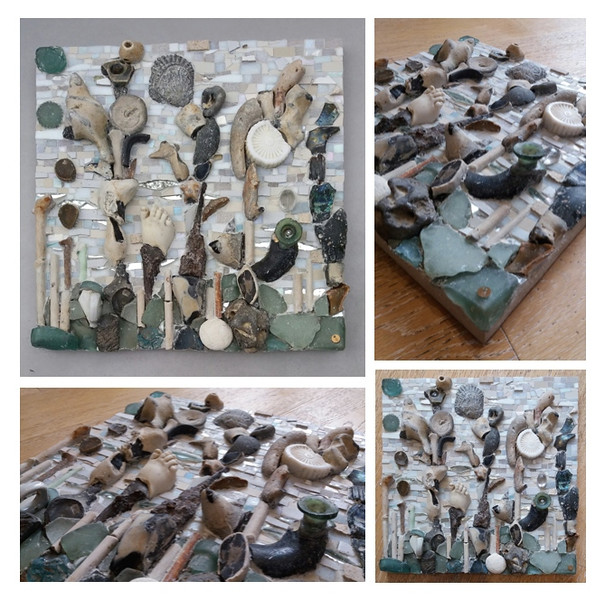 """""""Fruits of the Thames"""", 2016 (mosaic: ceramic, glass, mirror, bones, XVIc pipes, iron, fossil, stones, plastic and millefiori on wooden board, direct method.) by Francesca Busca"""