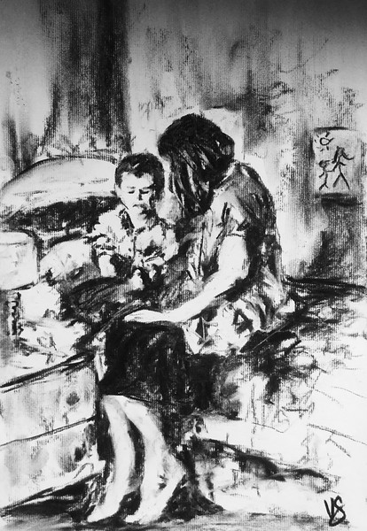 """""""Making the boogyman dissapear"""" (charcoal) by Victoria General"""