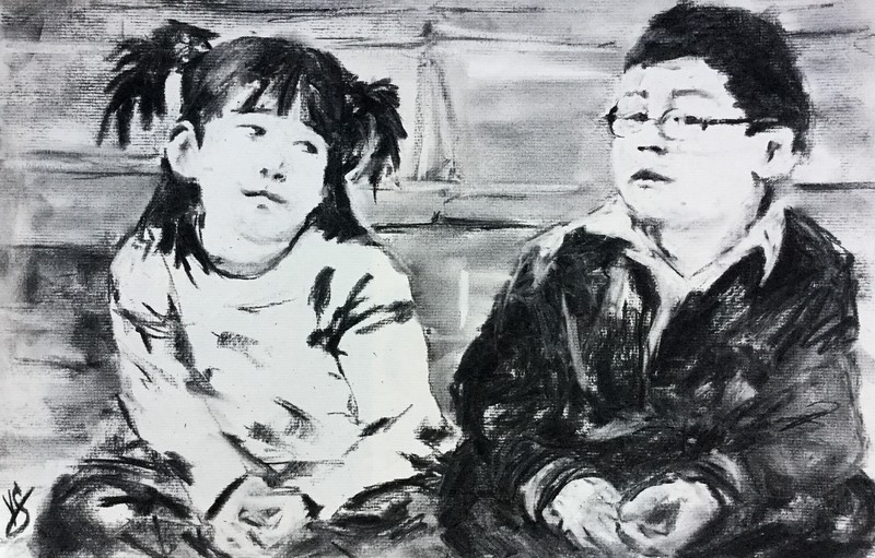 """""""She's my best friend. But sometimes she hogs the Play-doh."""" (charcoal) by Victoria General"""