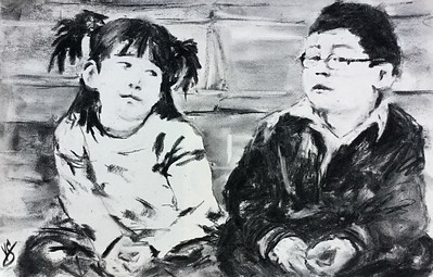 """She's my best friend. But sometimes she hogs the Play-doh."" (charcoal) by Victoria General"