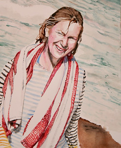 """Jean at the Beach"" (watercolor) by Mark Kaufman"