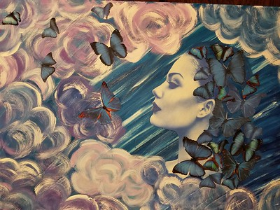 """Sky Maiden"" (mixed media on canvas) by Diamante Lavendar"
