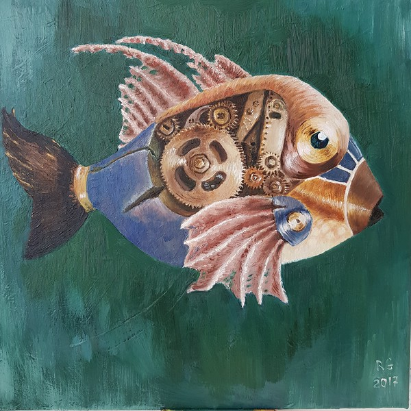 """Mechanical fish #1"" (oil on canvas) by Regina Grauberger"