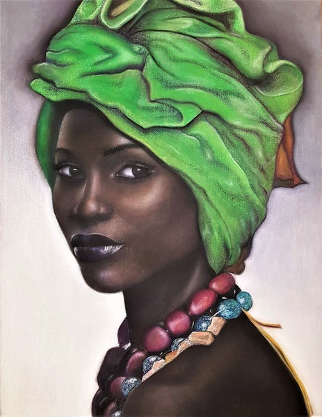 """""""A Woman with Green Head Scarf"""" (soft pastel on canvas) by Clair Song"""