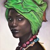 """A Woman with Green Head Scarf"" (soft pastel on canvas) by Clair Song"