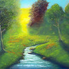 """Sunlit Meadow"" (oil on canvas) by 	Eldon Case"