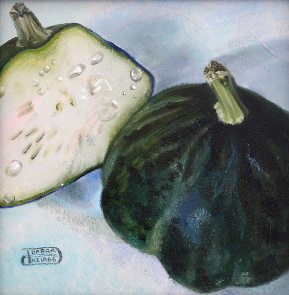"""Even Gourds Sweat"" (oil) by Debra Keirce"