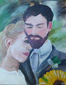 """Marriage"" (acrylic finger painting on canvas) by Evan Gunn"