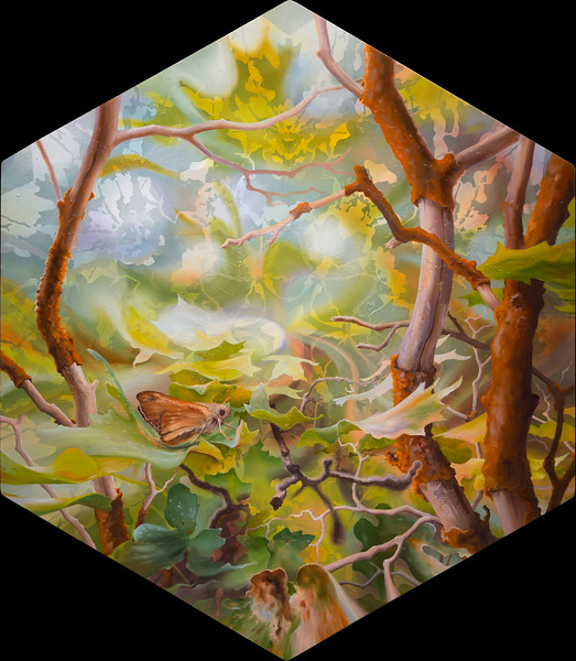 """""""Mountainside Grove"""" (oil and ink on panel) by Zephyr Greyhaven"""