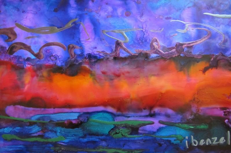 """Wild Child"" (multi-media- alcohol inks, Luminaire, acrylic) by Ilona Benzel"