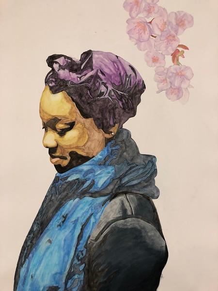 """Melanin Blossom"" (watercolor) by Janay Cosey"
