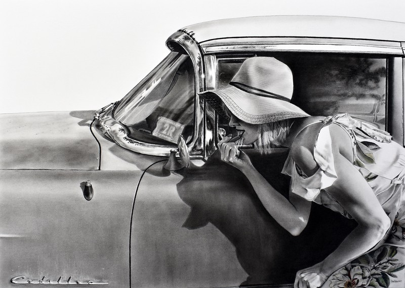 """Roadside Service"" (charcoal with pastel) by Dan Pyle"