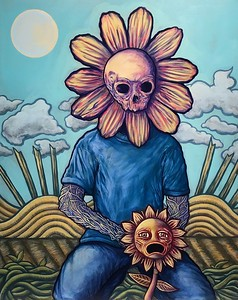 """Reaper (In a Time of Need)"" (acrylic on canvas) by Cyan Garma"